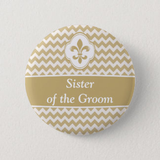 Gold White Fleur de Lis Wedding Party Buttons