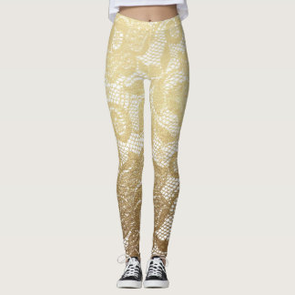 Gold & White Floral Faux Lace Leggings