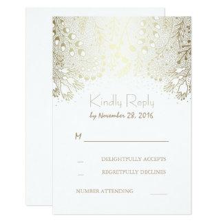 "Gold White Garden Flowers Wedding RSVP Cards 3.5"" X 5"" Invitation Card"