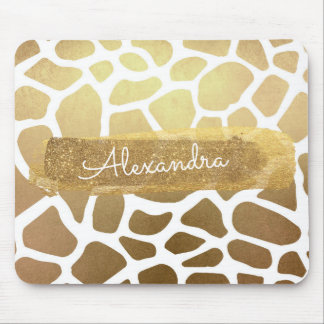 Gold & White Giraffe Print with Gold Glitter Mouse Pad