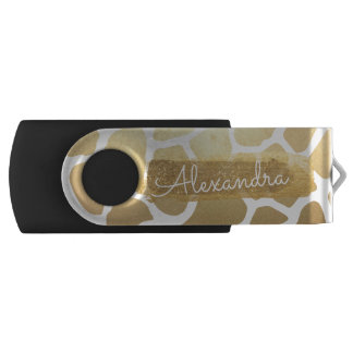 Gold & White Giraffe Print with Gold Glitter USB Flash Drive