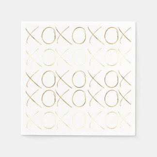 Gold White Glam XOXO Disposable Napkins