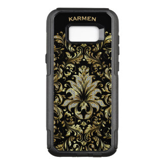 Gold & White Glitter Floral Lace Black Background OtterBox Commuter Samsung Galaxy S8+ Case