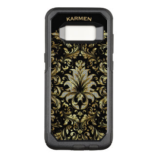 Gold & White Glitter Floral Lace On Background OtterBox Commuter Samsung Galaxy S8 Case