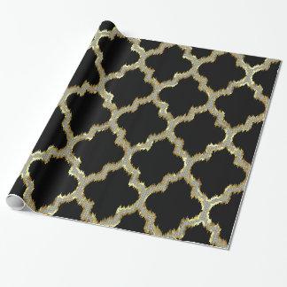 Gold & White Glitter Geometric Quatrefoil Pattern Wrapping Paper