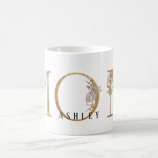 Gold & White Gold Foil ApothecaryType Mom Name Coffee Mug