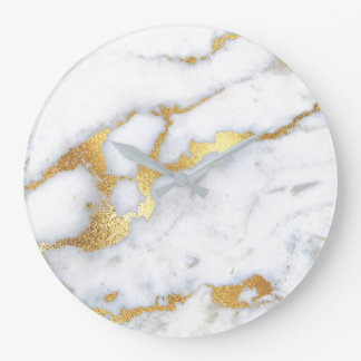 Gold White Gray Carrara Marble Stone Abstract Lux1 Large Clock