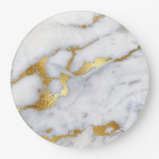 Gold White Gray Carrara Marble Stone Abstract Lux Large Clock