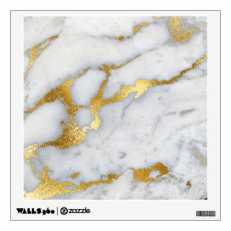 Gold White Gray Carrara Marble Stone Abstract Silv Wall Sticker