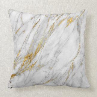 Gold White Gray Glam Carrara Marble Throw Pillow