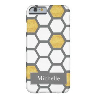 Gold & White Hexagons on Gray Custom Name Barely There iPhone 6 Case