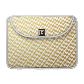 Gold & White Houndstooth Macbook Pro Sleeve