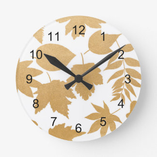 Gold White leaf silhouette pattern, fall decor Round Clock