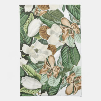 Gold White Magnolia Flowers Floral Kitchen Towel