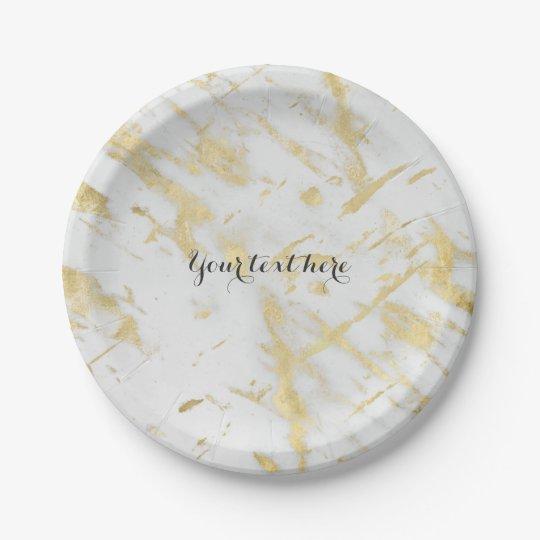 Gold & White Marble Glam Elegant Designer Style 7 Inch Paper Plate