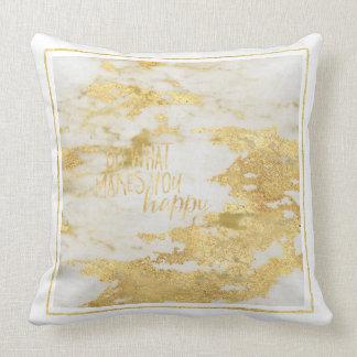 Gold White Marble Sparkle Throw Pillow