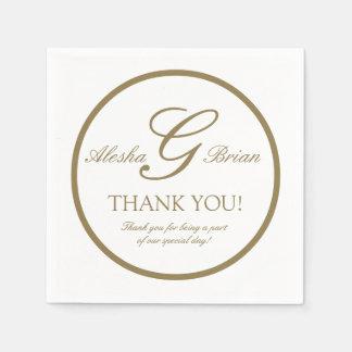 Gold White Monogram Wedding   Paper Napkins