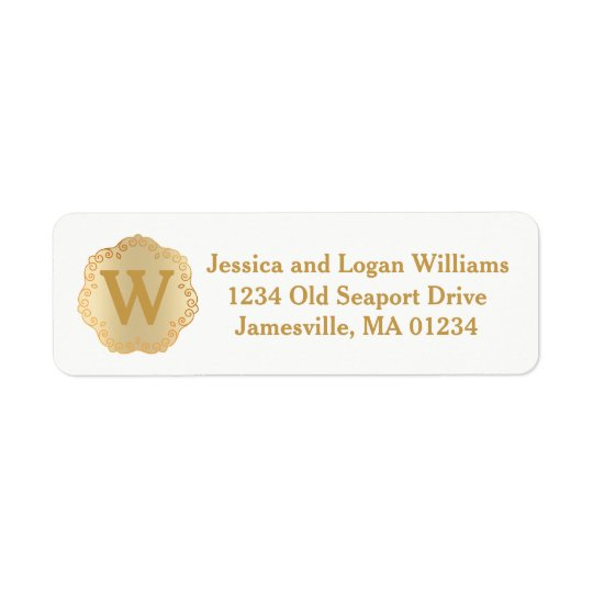 Gold & White Monogrammed Return Address Labels