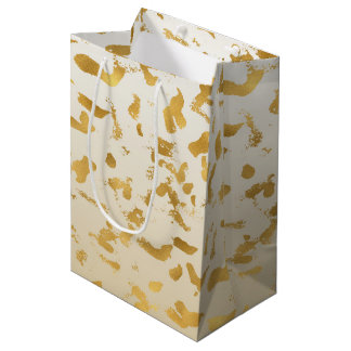 Gold White Ombre Animal Print Medium Gift Bag