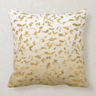 Gold White Ombre Animal Print Throw Pillow