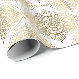 Gold & White Ornate Lace Teardrops Pattern