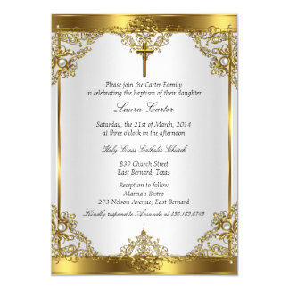 "Gold White Pearl Cross Baptism Christening 2 5"" X 7"" Invitation Card"