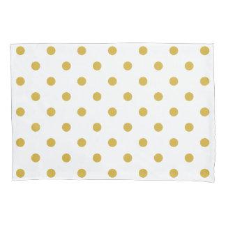 Gold White Polka Dots Pattern Pillowcase