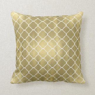 Gold White Quatrefoil Throw Pillow
