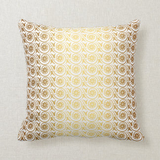 Gold White Royal Ornament  Stripes Metallic Royal Throw Pillow