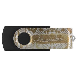 Gold & White Snake Skin Print with Gold Glitter USB Flash Drive