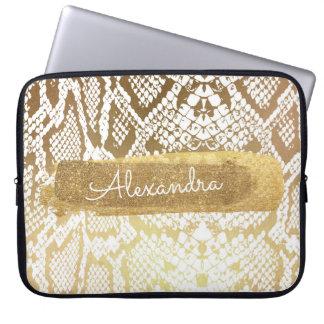 Gold & White Snake Skin with Gold Glitter Laptop Sleeve