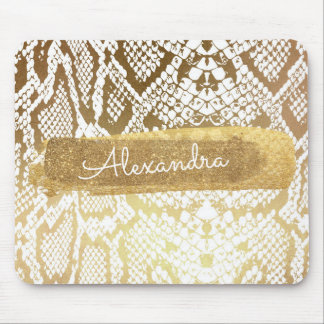 Gold & White Snake Skin with Gold Glitter Mouse Pad