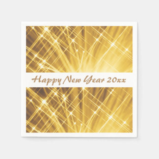Gold White Sparkle Happy New Year's Eve Party Paper Napkin