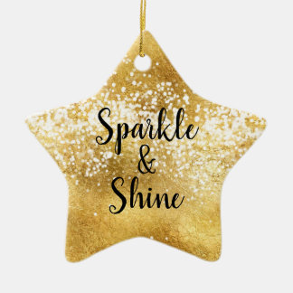 Gold White Sparkle Shine Ceramic Ornament
