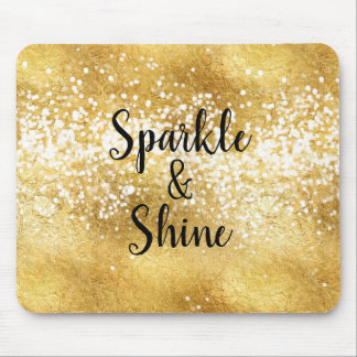 Gold White Sparkle Shine Mouse Pad