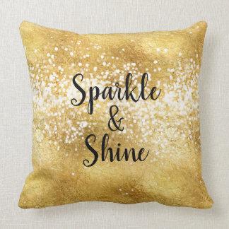 Gold White Sparkle Shine Throw Pillow