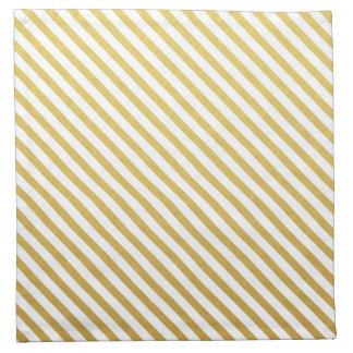 Gold & White Striped Pattern Napkin