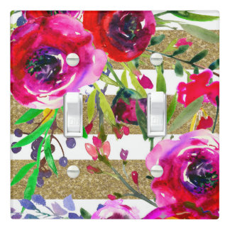 Gold White Stripes Bold Glam Floral Glam Botanical Light Switch Cover