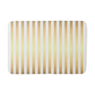Gold White Stripes Pattern Bath Mat