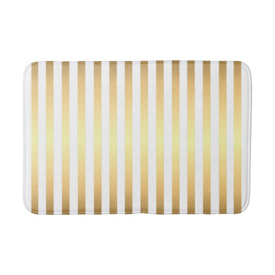 Gold White Stripes Pattern Bathroom Mat