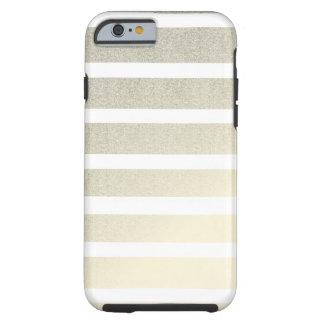 Gold White Stripes Pattern Modern Tough iPhone 6 Case