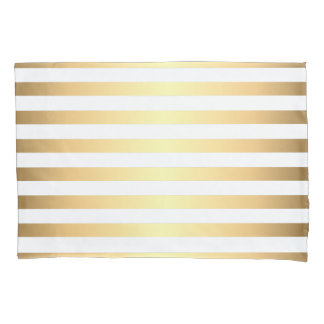 Gold White Stripes Pattern Pillowcase