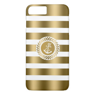 Gold & White Stripes & Wreath With Nautical Anchor iPhone 7 Plus Case