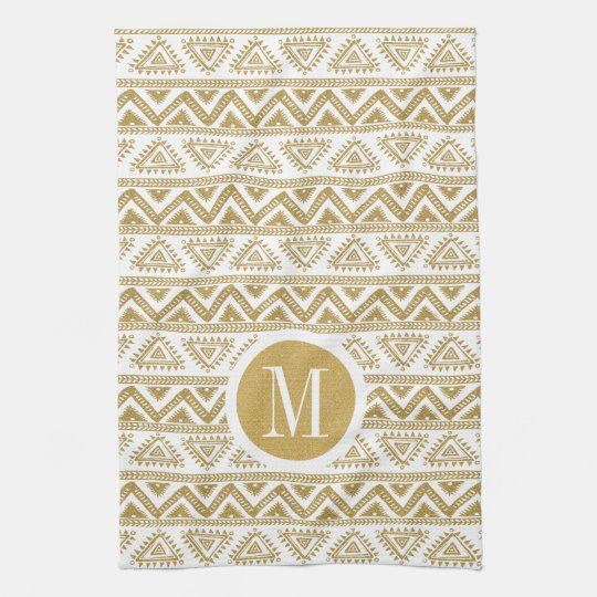 Gold & White Tribal Geometric Pattern Towels
