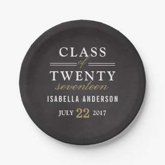 Gold & White Typography on Chalkboard | Grad Party 7 Inch Paper Plate