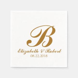 Gold  White Wedding Monogram Napkin