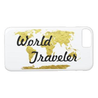 Gold & White World Map World Traveler iPhone 8/7 Case