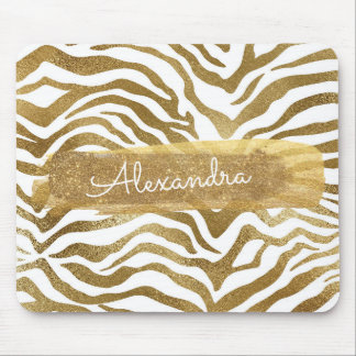 Gold & White Zebra Animal Print with Gold Glitter Mouse Pad
