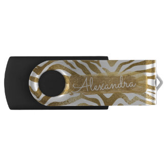 Gold & White Zebra Print with Gold Glitter USB Flash Drive