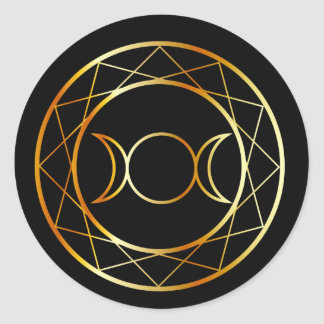 Gold Wiccan symbol Triple Goddess Classic Round Sticker